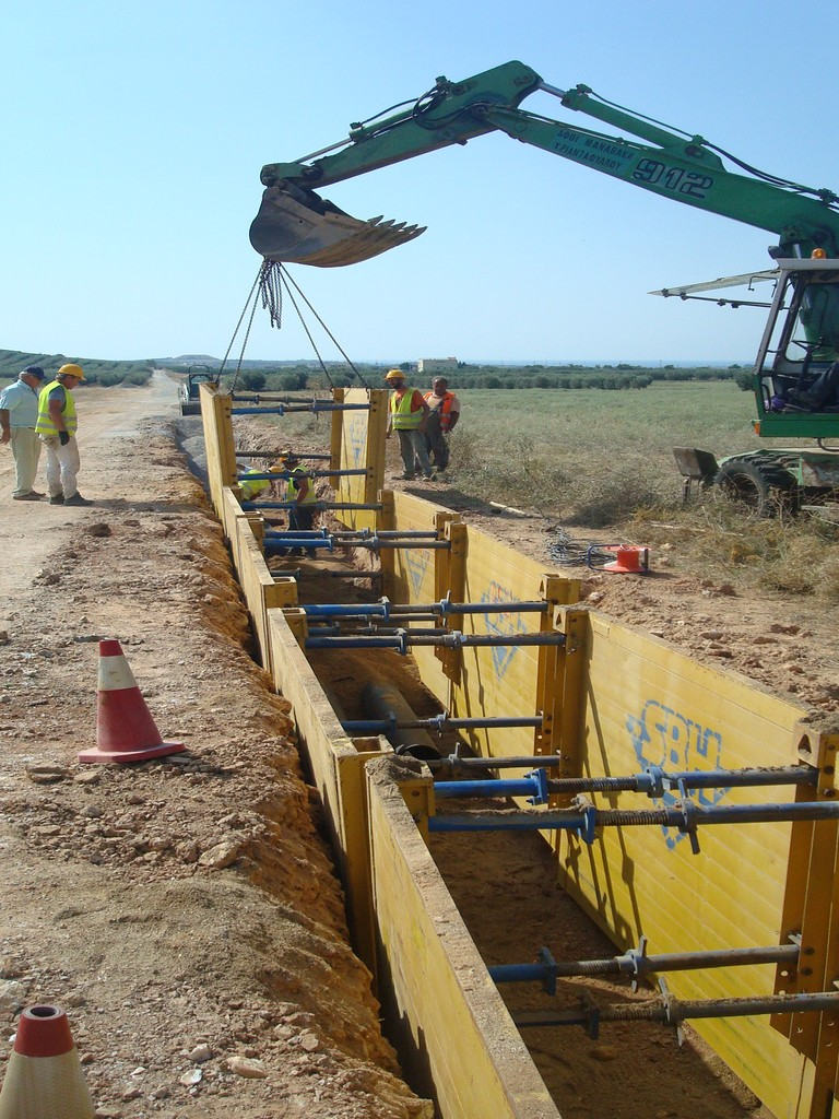 Construction of sewage network in nea plagia for Contractors network